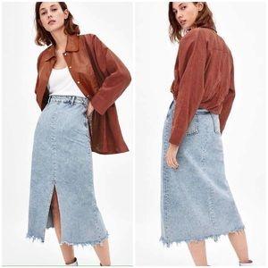 Zara Light Wash Denim Raw Hem Midi Skirt